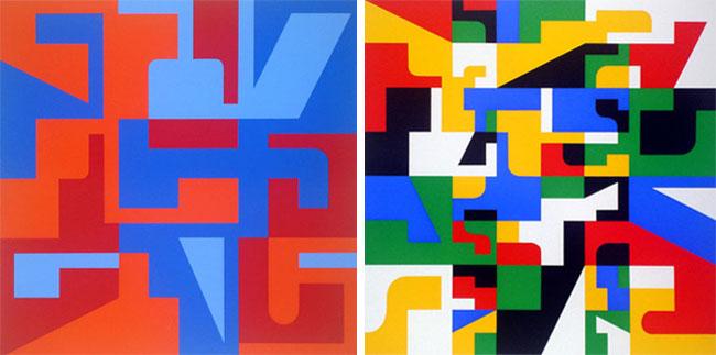 Diferentes Letterforms serigrafiados