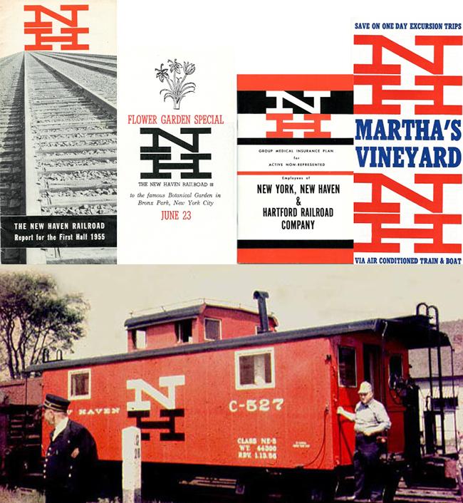 Identidad diseñada para New Haven Railroad, junto a Herbert Matter